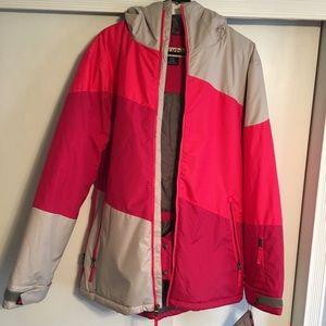 Pink pattern turbine snow jacket
